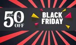 Black Friday sale poster or banner design with upto 50% discount. Offer and geometric elements on rays background vector illustration