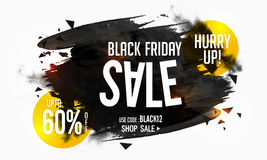 Black Friday Sale Poster, Banner or Flyer design. Black Friday Sale with Upto 60% Off, Creative Poster, Banner or Flyer with abstract brush strokes, Vector Stock Photography