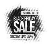 Black Friday Sale Poster, Banner or Flyer. Black Friday Sale with Discount upto 65%, Special Offer Poster, Banner or Flyer with abstract design, Vector Stock Image