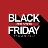 Black Friday Sale Poster. Best offers. 75% off Sale Stock Photo