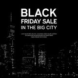 Black Friday Sale Poster on Big City Background. New York. Vector illustration stock photos