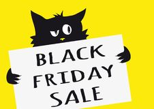 Black friday sale poster with black cat on yellow background. A board with text Stock Images