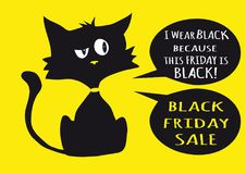 Black friday sale poster with black cat on yellow background. A two bubble labels with text Stock Image