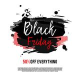Black Friday Sale Poster. On a hand drawn brush background. Sale banner with special offer fifty percent off. Vector Illustration Stock Photos