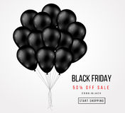 Black Friday Sale Poster with Dark Balloons Bunch. Black Friday Sale Poster with Dark Shiny Balloons Bunch  on White Background. Vector illustration Stock Photos