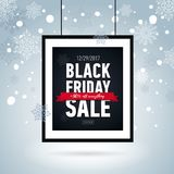 Black friday sale poster in frame on snowy background. Seasonal sale. Royalty Free Stock Photos