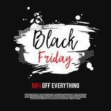 Black Friday Sale Poster. On a hand drawn brush background. Sale banner with special offer fifty percent off. Vector Illustration Stock Photo
