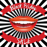 Black Friday Sale poster. Hand drawn lettering on red ribbons Royalty Free Stock Images
