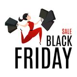 Black Friday Sale poster with happy customer Stock Photography