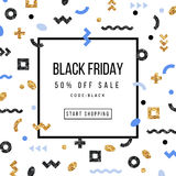 Black Friday Sale Poster in Memphis Style vector illustration