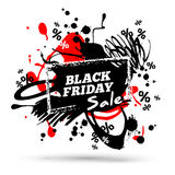 Black Friday Sale Poster with Percent Signs. Black Friday Sale Poster Template with Percent Signs and Paint Splashes. Vector illustration. Brush Strokes Stock Photos