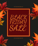 Black Friday Sale poster in retro design with autumn colorful leaves Stock Photo