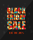 Black Friday Sale poster in retro design with colorful text. Black Friday Sale card with colorful text Royalty Free Stock Photos