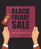 Black Friday Sale poster in retro design with label Royalty Free Stock Photos