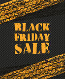 Black Friday Sale poster in retro design with tire tracks Royalty Free Stock Photography