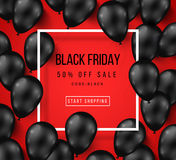 Black Friday Sale Poster with Shiny Balloons Royalty Free Stock Photography