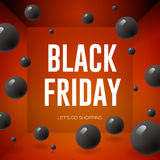 Black Friday Sale poster with shiny balloons on red background Stock Photo
