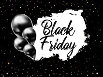 Black Friday Sale Poster with Shiny Black Balloons on Background with stars. Vector illustration stock illustration