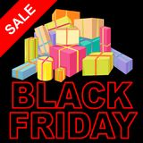 Black Friday Sale Poster vector illustration flat Royalty Free Stock Images