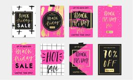 Black Friday Sale Set of 8 cards, banners or posrers. Royalty Free Stock Images