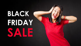 Black Friday Sale Poster with Woman Screaming in Red Dress stock photos