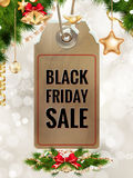 Black Friday sale price tag. EPS 10. Black Friday sale realistic paper price tag on Christmas background with snow. EPS 10 vector file included Royalty Free Stock Image