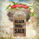Black Friday sale price tag. EPS 10. Black Friday sale realistic paper price tag on Christmas background with snow. EPS 10 vector file included Stock Photography