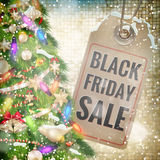 Black Friday sale price tag. EPS 10. Black Friday sale realistic paper price tag on Christmas background with snow. EPS 10 vector file included stock illustration