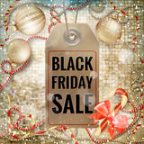 Black Friday sale price tag. EPS 10. Black Friday sale realistic paper price tag on Christmas background with snow. EPS 10 vector file included Stock Photos