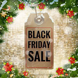 Black Friday sale price tag. EPS 10. Black Friday sale realistic paper price tag on Christmas background with snow. EPS 10 vector file included Royalty Free Stock Images