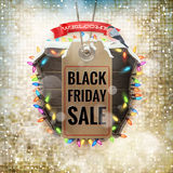 Black Friday sale price tag. EPS 10. Black Friday sale realistic paper price tag on Christmas background with snow. EPS 10 vector file included Royalty Free Stock Photography