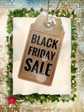 Black Friday sale price tag. EPS 10. Black Friday sale realistic paper price tag on Christmas background with snow. EPS 10 vector file included Royalty Free Stock Photos