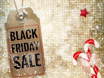 Black Friday sale price tag. EPS 10. Black Friday sale realistic paper price tag on Christmas background with snow. EPS 10 vector file included royalty free illustration