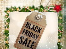 Black Friday sale price tag. EPS 10. Black Friday sale realistic paper price tag on Christmas background with snow. EPS 10 vector file included Stock Photo