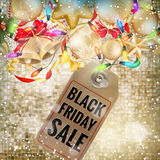 Black Friday sale price tag. EPS 10. Black Friday sale realistic paper price tag on Christmas background with snow. EPS 10 vector file included Stock Images