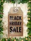 Black Friday sale price tag. EPS 10. Black Friday sale realistic paper price tag on Christmas background with snow. EPS 10 vector file included Royalty Free Stock Photo