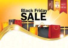 Black Friday sale printable background. With shopping bags. Big discounts, hot deals. Print colors used Royalty Free Stock Photos