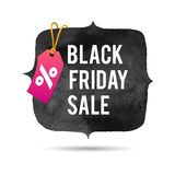 Black Friday Sale. Promo Abstract Vector Illustration for your business artwork. Pink Pricetag and Gold Rope Stock Images