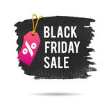 Black Friday Sale. Promo Abstract Vector Illustration for your business artwork. Pink Pricetag and Gold Rope Stock Photos