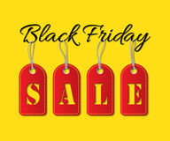 Black Friday Sale text with red tags on yellow background. Vector illustration. Black Friday Sale promotion template. Stock Photography