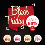 Black Friday Sale, rabatt, av 50%, 25%, 35%, 60%, 70% Royaltyfri Illustrationer