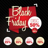 Black Friday Sale, rabatt, av 50%, 25%, 35%, 60%, 70% Vektor Illustrationer
