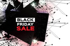 Black Friday Sale. Realistic fiery explosion. Big Sale. Discount. Trendy Geometric elemets and frame in paper cut style. For brochure, flyer. Simple geometry Stock Image