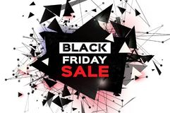 Black Friday Sale. Realistic fiery explosion. Big Sale. Discount. Trendy Geometric elemets and frame in paper cut style. For brochure, flyer. Simple geometry Stock Photography