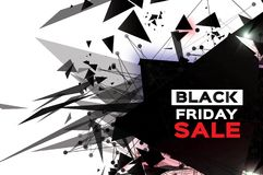 Black Friday Sale. Realistic fiery explosion. Big Sale. Discount. Trendy Geometric elemets and frame in paper cut style. For brochure, flyer. Simple geometry Stock Images