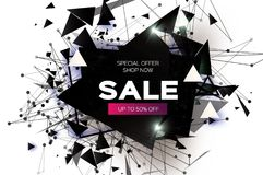 Black Friday Sale. Realistic fiery explosion. Big Sale. Discount. Trendy Geometric elemets and frame in paper cut style. For brochure, flyer. Simple geometry Royalty Free Stock Photos
