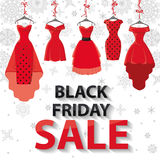 Black friday Sale.Red Party dresses ,snowflakes Stock Photos