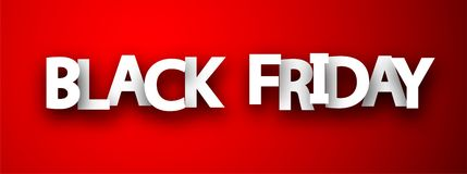 Black friday sale red promotion banner. royalty free illustration