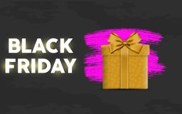 Black friday sale sale landing page with purple suprise packet in black gradient background. vector illustration. EPS 10 royalty free illustration