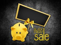 Black Friday sale sale text blackboard and piggy bank with golden ribbon bow on black background vector illustration